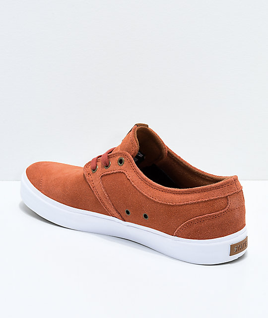 State Bishop Brick & White Suede Skate Shoes