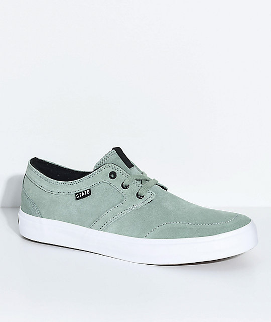 State Bishop Mint   White Suede Skate Shoes  e5f643018