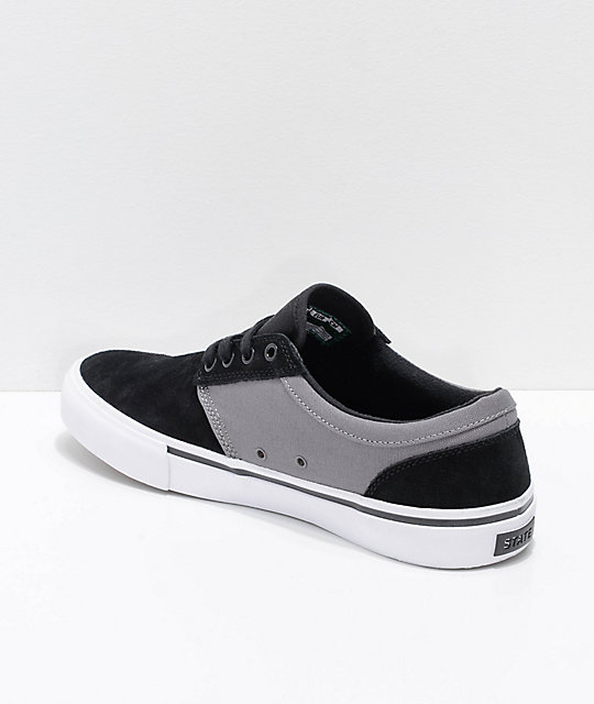 State Elgin Black, Pewter, Suede & Canvas Skate Shoes