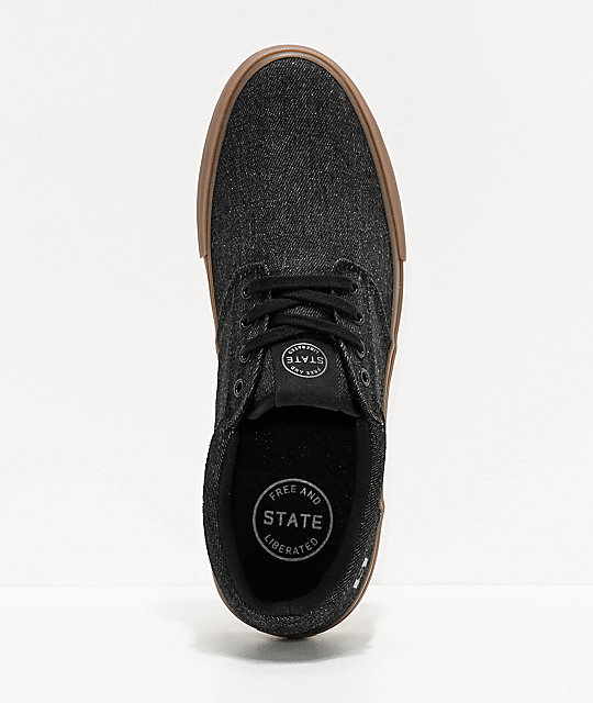 State Elgin Black & Gum Denim Skate Shoes