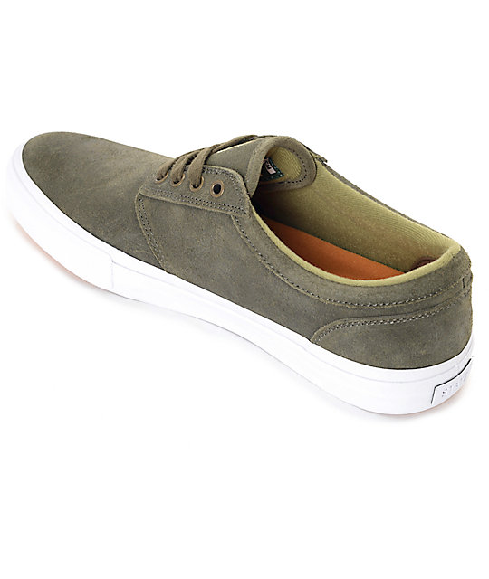 State Elgin Jordan Sanchez Olive and White Skate Shoes