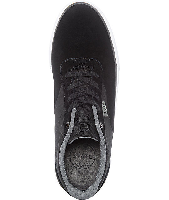 State Madison Black & Pewter Suede Skate Shoes