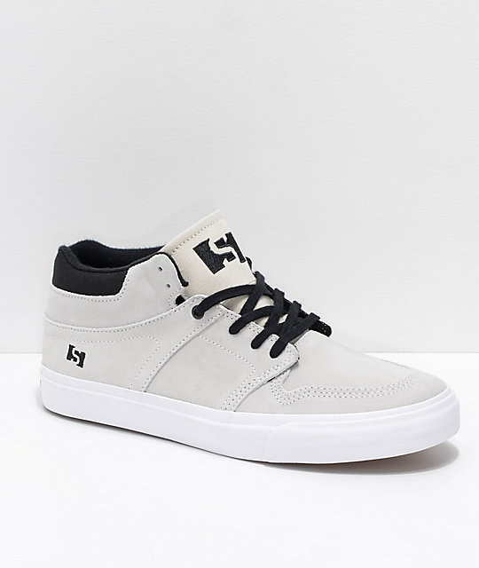 State Mercer Bone White & Black Suede Skate Shoes