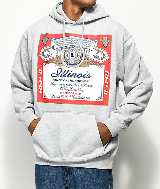 State Of Mind Illinois Weiser Grey Hoodie
