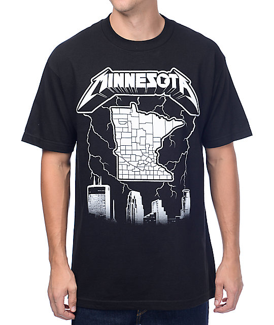State Of Mind Minnesota Metal Black T-Shirt