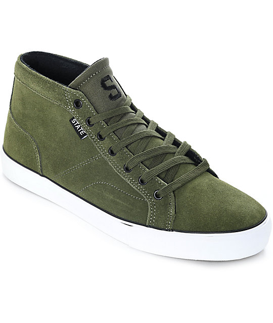 State Salem Forest Green & White Suede Skate Shoes