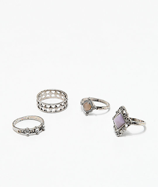 Stone + Locket 4 Pack Antique Metal Rings