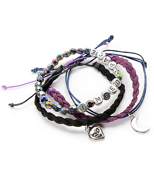 Stone + Locket Alien, Moon & Braid Pack de 4 pulseras