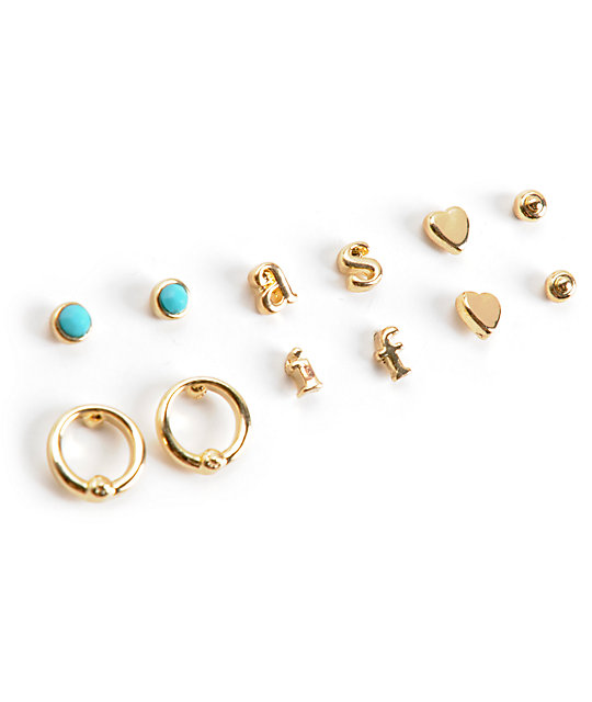 Stone + Locket As If Gold Multipack Stud Earrings