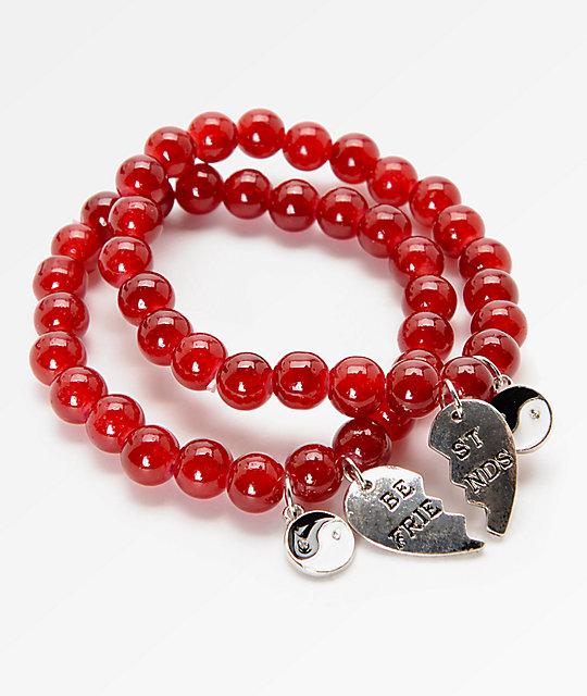 Stone Locket Bead Yin Yang Best Friends Bracelets