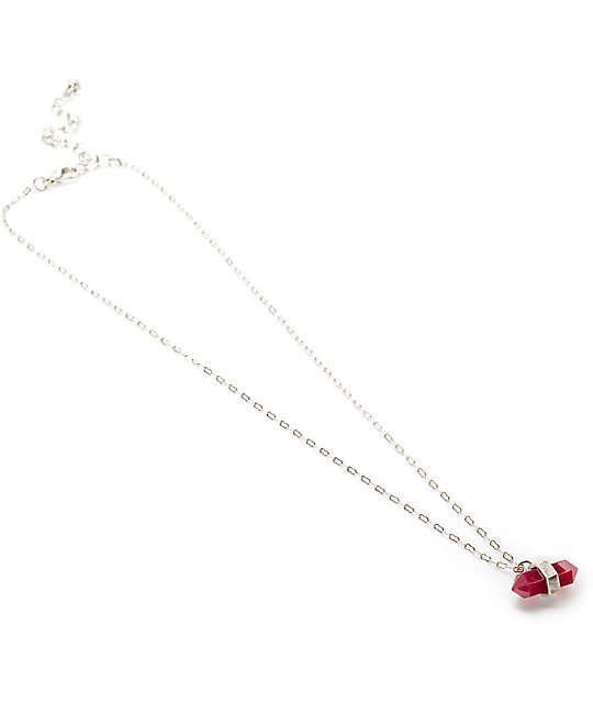 Stone + Locket Burgundy & Silver Crystal Pendant Necklace