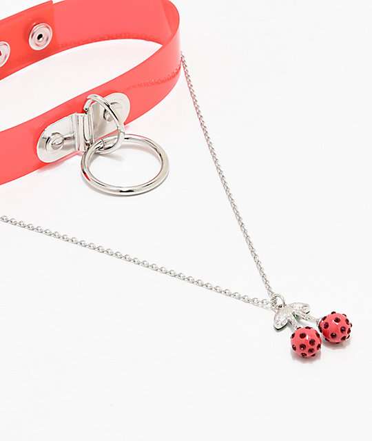 Stone + Locket Cherries & Chains Choker 2 Pack