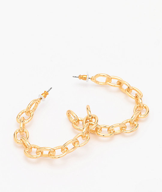 Stone + Locket Gold Chain Hoop Earrings