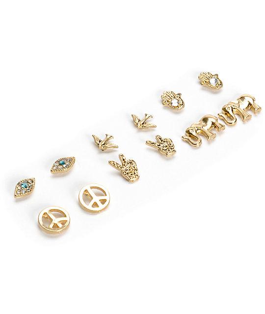 Stone Locket Gold Hamsa Elephant Multipack Stud Earrings