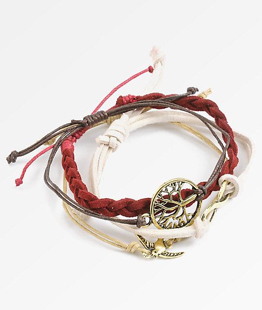 Stone Locket Infinity Feather Bracelet Pack