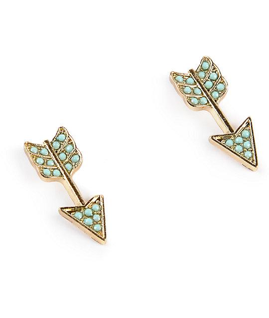 Stone Locket Mint Gold Arrow Stud Earrings