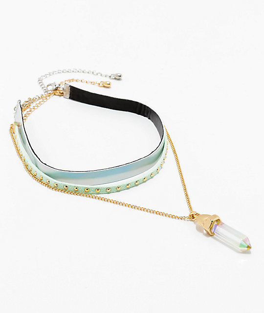 Stone + Locket Mint & Silver Crystal Choker 3 Pack