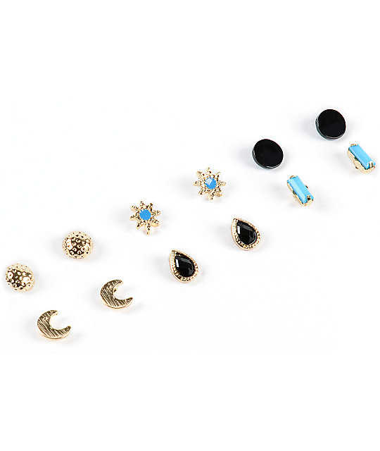 Stone Locket Moon Star Multipack Stud Earrings