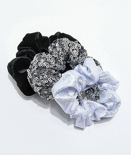 Stone + Locket Party Scrunchie 3 Pack