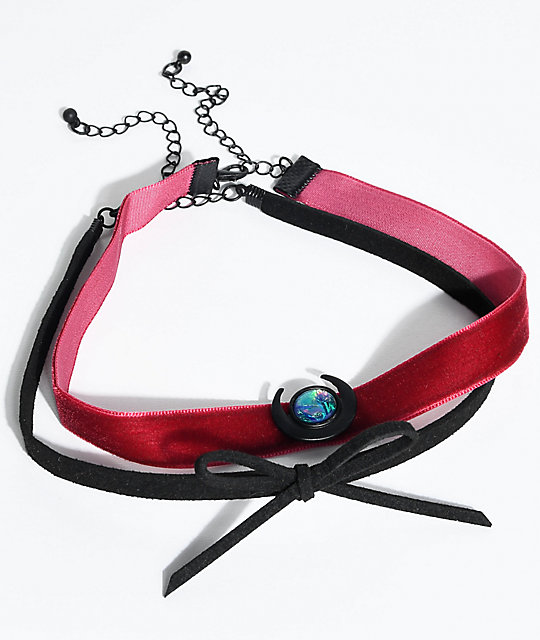 Stone + Locket Red Velvet & Black Bow Choker 2 Pack