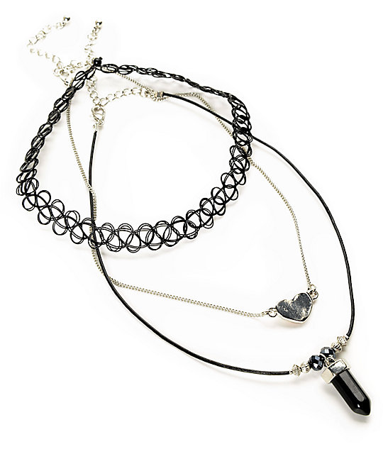 Stone + Locket Silver Heart Tattoo & Stone Choker Necklace 3 Pack