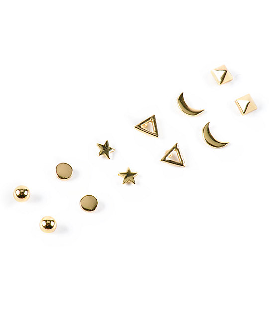 Stone Locket Star Moon Multipack Stud Earrings