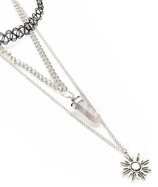 Stone + Locket Sunburst & Tattoo 2 pack de collares