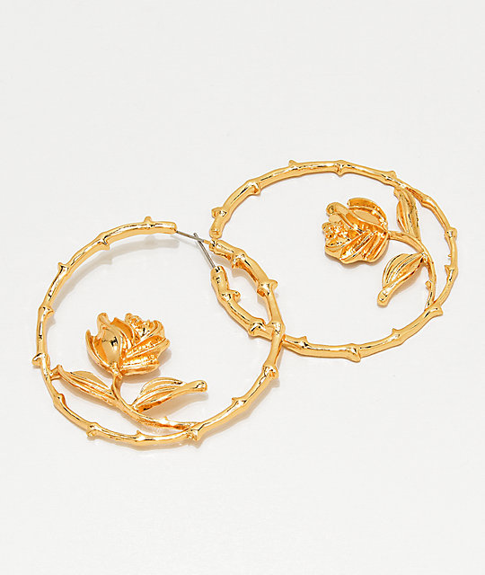 Stone + Locket Thorny Rose Gold Hoop Earrings
