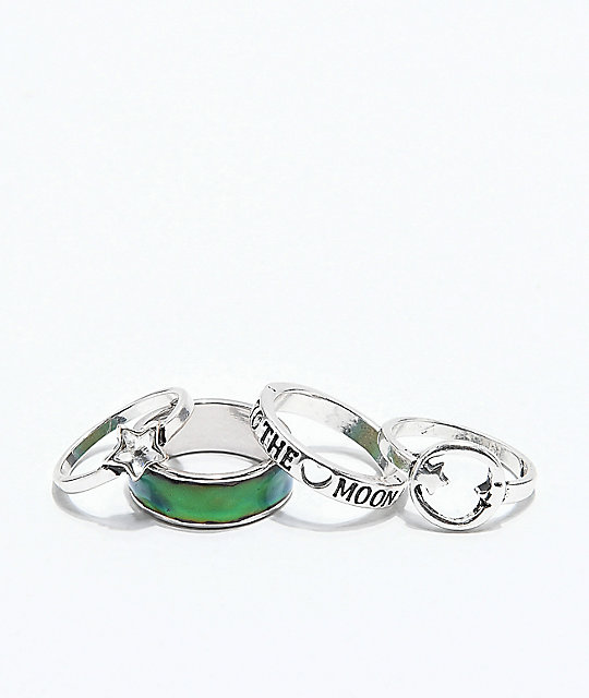 Stone + Locket To The Moon Ring 4 Pack