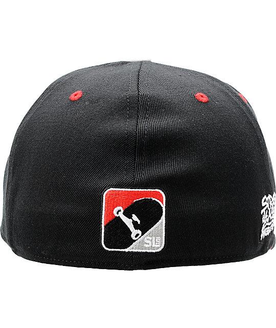 56bc1dd41fa27 ... 210 Flexfit Hats  Street League Skateboarding Marker Black   Red 210  Flexfit