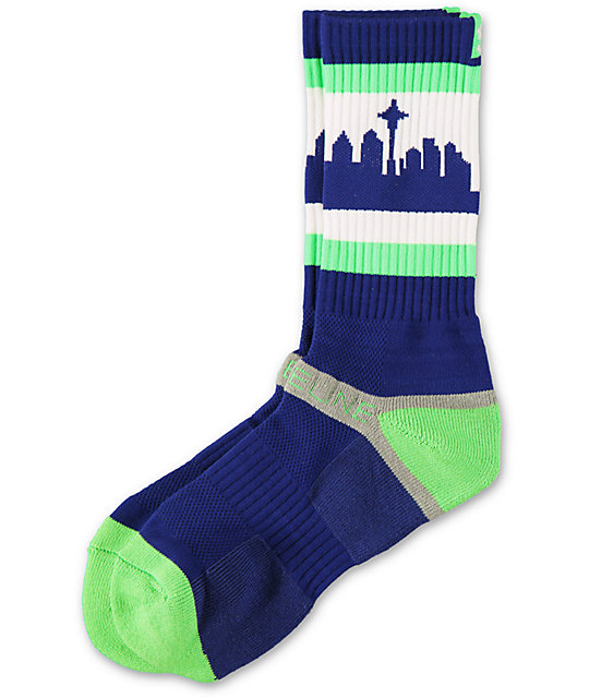 Strideline SeaTown Navy & Green Crew Socks