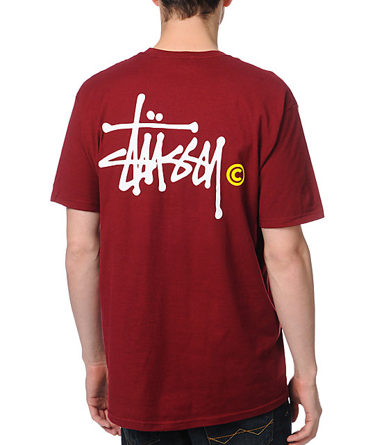 Stussy Basic Logo Wine Dark Red T-Shirt