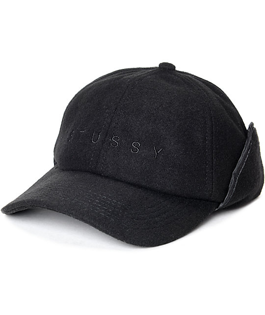 Stussy Black Ear Flap Cap