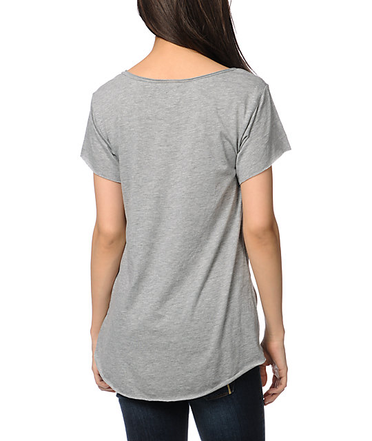 Stussy Tribe Heather Grey Scoop Neck T-Shirt