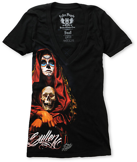 Sullen Acuna Badge Black V-Neck T-Shirt