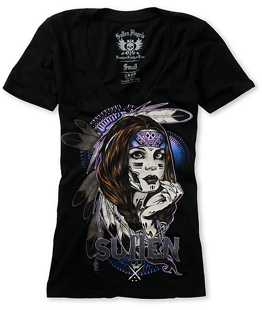 Sullen Native Black V-Neck T-Shirt