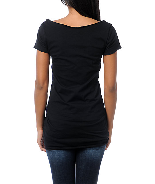 Sullen Rendezvous Black Wide Neck T-Shirt