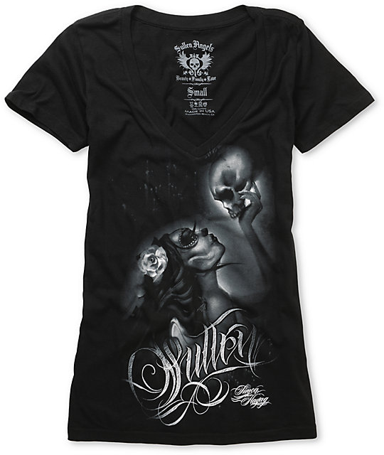 Sullen Whisper Black V-Neck T-Shirt