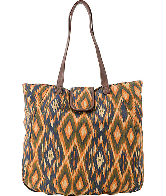 Super Trader Navy Tribal Tote Bag