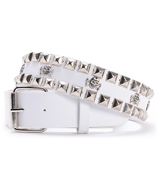 Super Trader White Double Studded Belt