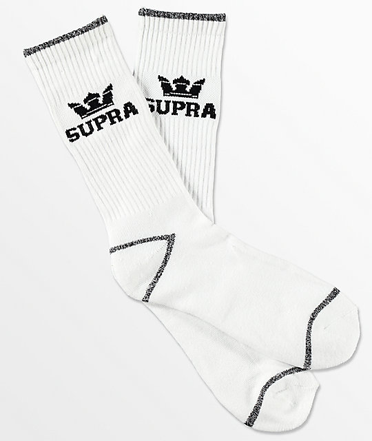 Supra  Crown White Crew Socks