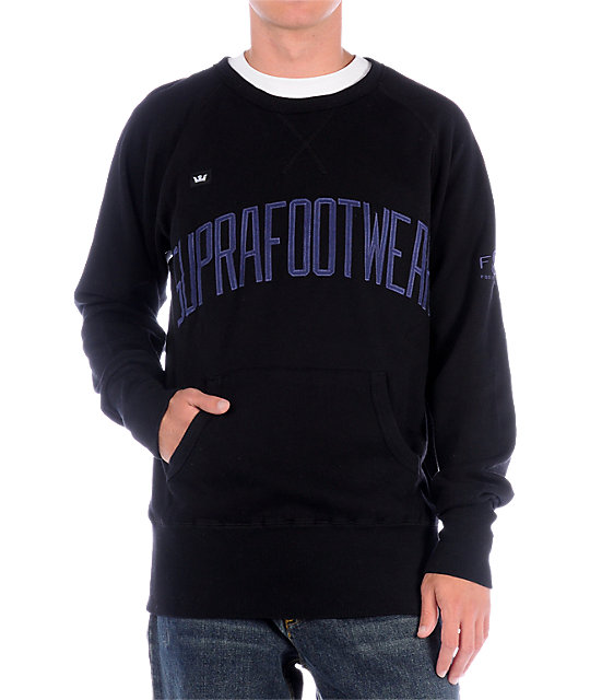 Supra Archer Black Crew Neck Sweatshirt