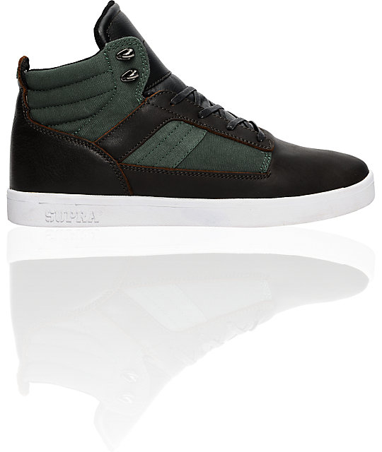 Supra Bandit Mid Brown & Green Canvas Shoes