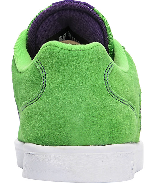 bab6a6f7af98 ... Supra Bullet Lizard King Green Suede   Purple Skate Shoes ...
