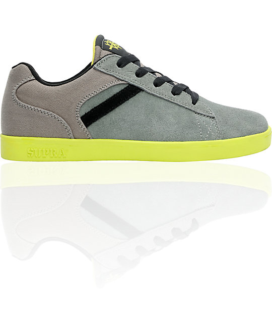 Supra Bullet Lizard King Signature Grey Suede & Neon Yellow Shoes