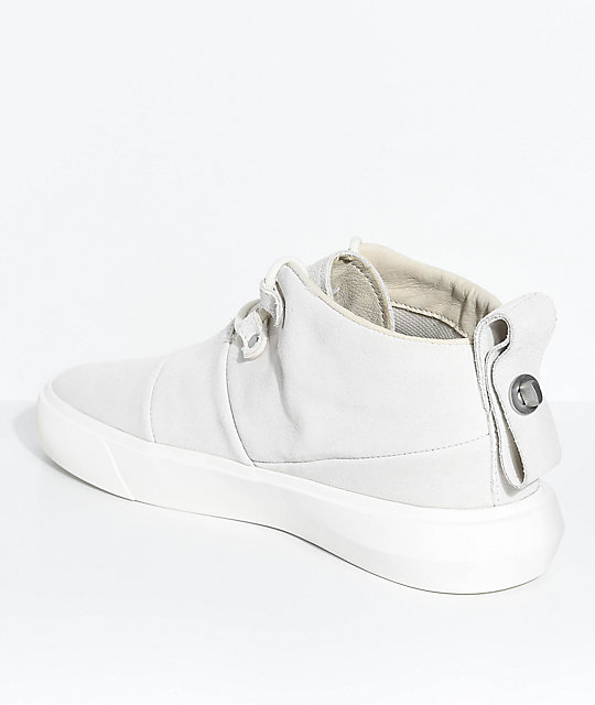 Supra Charles Off-White & Bone Suede Skate Shoes