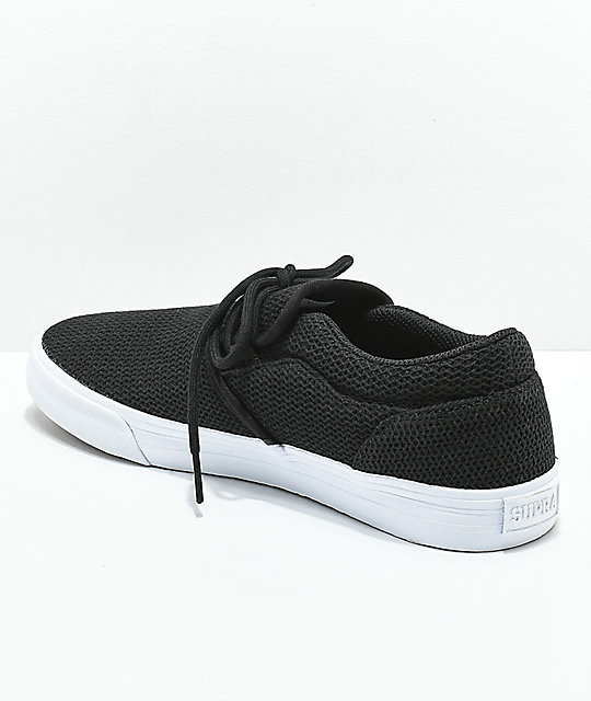 Supra Cuba Black & White Cotton Mesh Skate Shoes