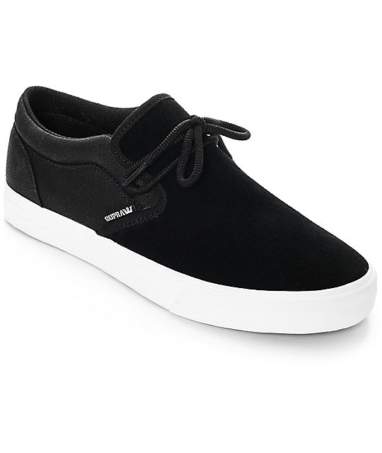 Supra Cuba Black & White Skate Shoes ...