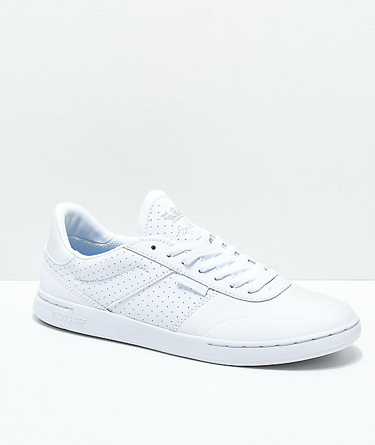 Supra Elevate White Nubuck Leather Skate Shoes