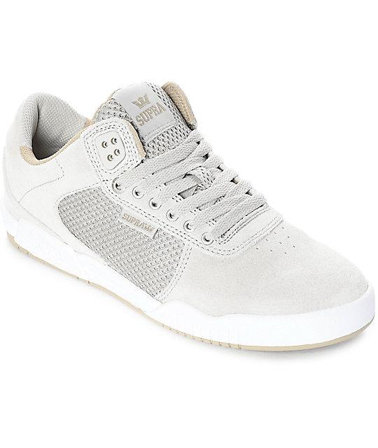 bf1d7d4dcf Supra Ellington Off White & Light Grey Skate Shoes   Zumiez